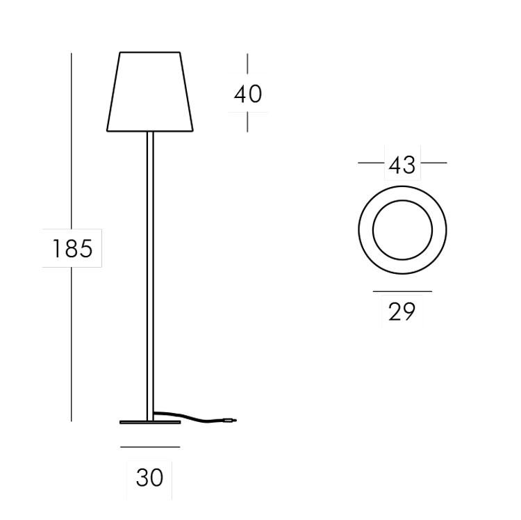 Lampe Ali Baba Steel Slide version 185 mesures et dimensions