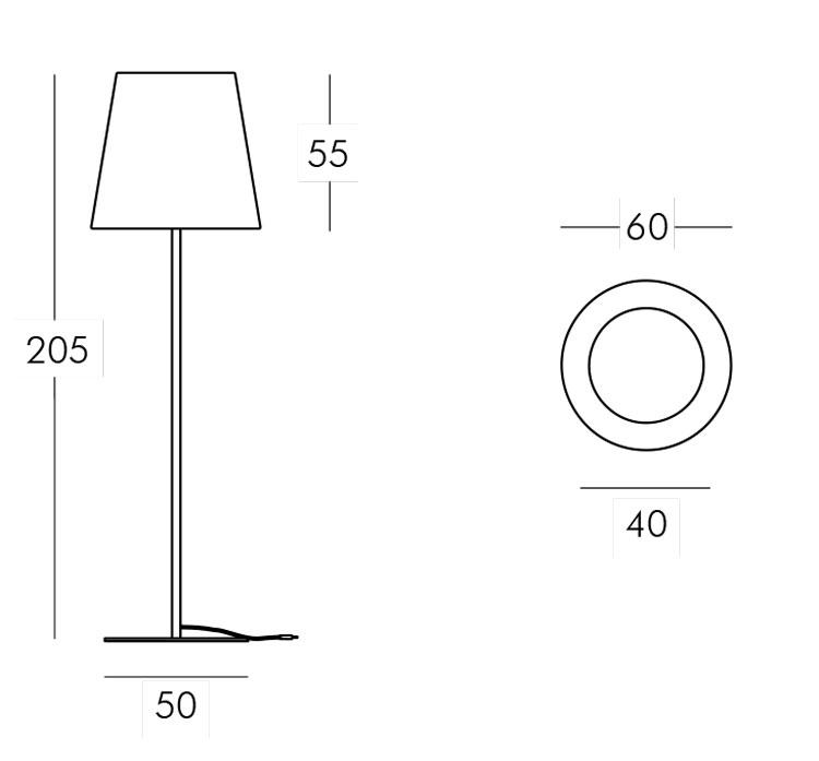 Lampe Ali Baba Steel Slide version 205 mesures et dimensions
