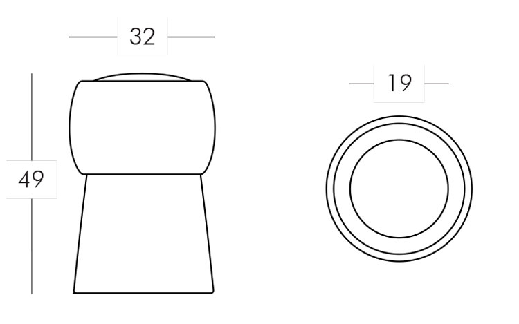 Cin Cin Lamp Slide frame and dimensions
