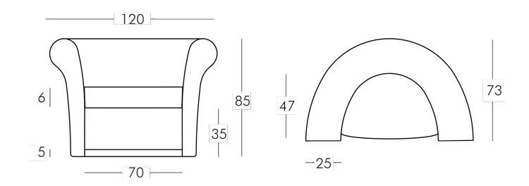 Fauteuil Kalla Slide mesures et dimensions