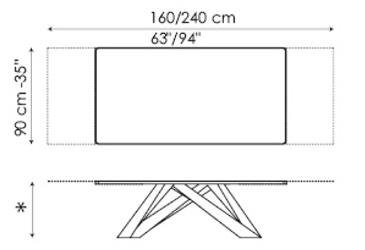 Tavolo Big Table Bonaldo allunabile 160/240 misure