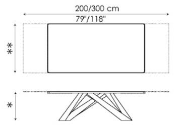 Tavolo Big Table Bonaldo allungabile 200/300 misure