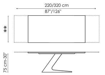 Tavolo TL Bonaldo allungabile 220/320 misure