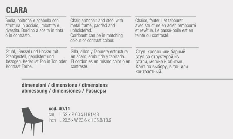 Chaise Clara Bontempi Casa dimensions