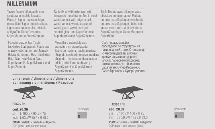 Tavolo Millennium Bontempi Casa 20.36 misure