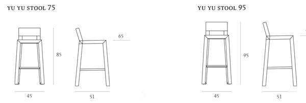 Sgabello YuYu Casprini misure e dimensioni