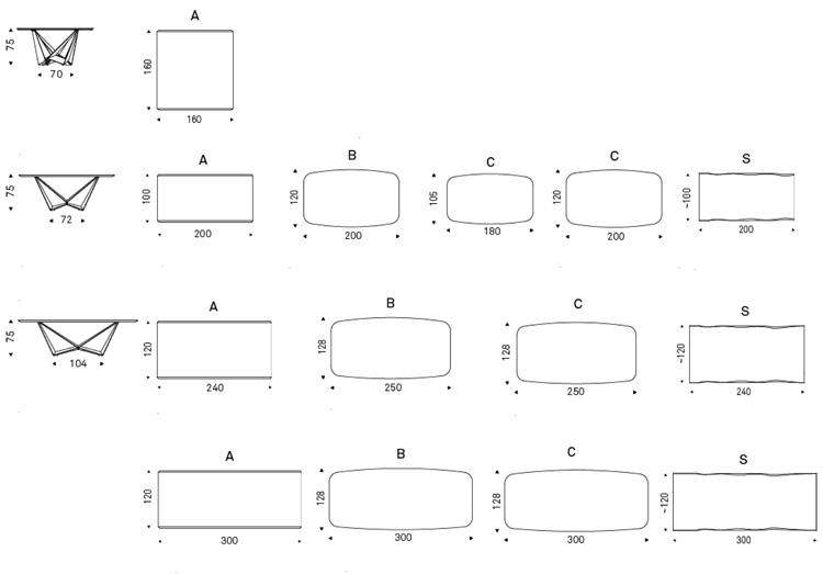 Skorpio Wood Tisch Cattelan Italia Abmessungen und Größen