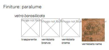 Lampada Apollo Cattelan Italia finiture e colori
