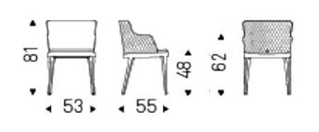 sedia cattelan italia magda couture con braccioli misure