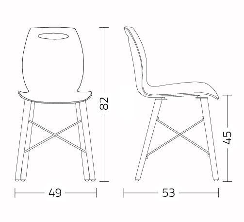 sedia colico modello bipwood misure