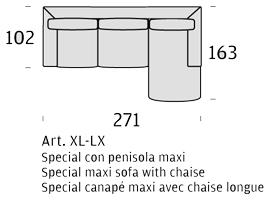 misure divano felis allison con penisola maxi