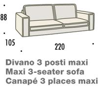 misure divano felis hogan A 3 posti maxi