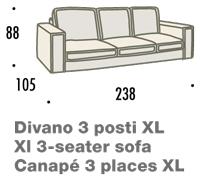 misure divano felis hogan A 3 posti XL