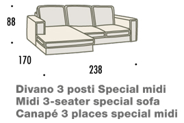 misure divano con penisola midi felis hogan A