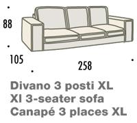 misure divano felis hogan B 3 posti XL