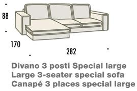 misure divano con penisola large felis hogan B