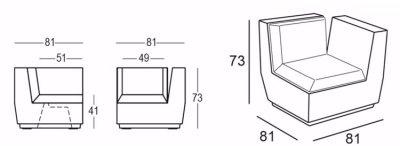 Fauteuil Big Cut Corner Plust dimensions
