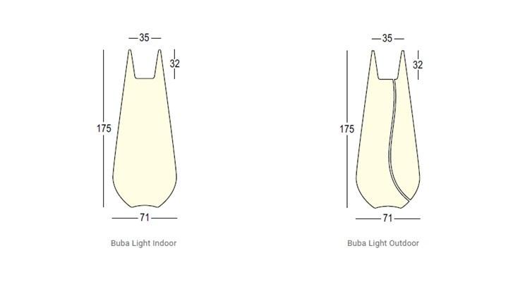 Vaso Buba Plust illuminabile dimensioni e misure