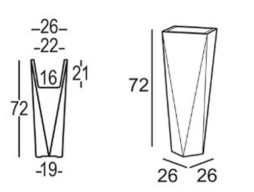 Vaso Diamond Plust h 72 dimensioni e misure