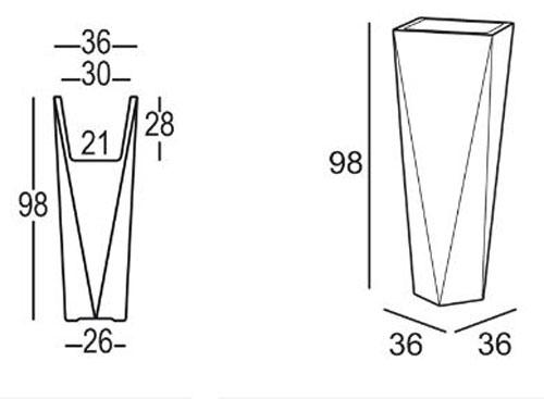 Vaso Diamond Plust h 98 dimensioni e misure