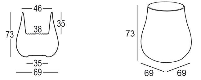 Vaso Drop Plust dimensioni e misure