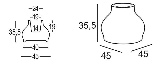 Vaso Fuzzy Pot Plust dimensioni e misure
