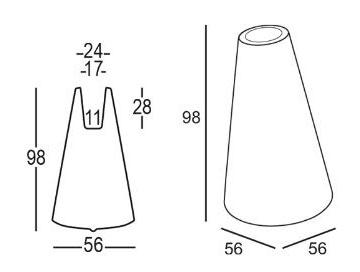 Vaso Trottola 98 Plust dimensioni e misure