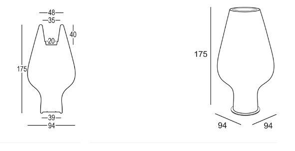Harbo Vase Plust Abmessungen und Größen