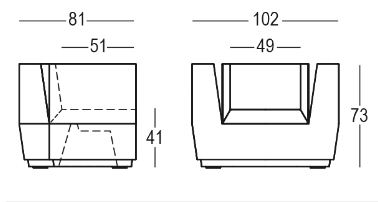 Big Cut Armchair Sessel Plust Abmessungen und Größen