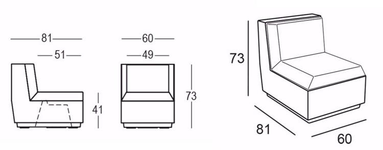 Poltrona Big Cut Module Plust Illuminabile dimensioni e misure