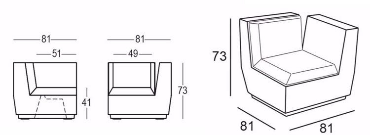 Poltrona Big Cut Corner Plust Illuminabile dimensioni e misure