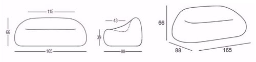 Divano Gumball Plust illuminabile dimensions and sizes