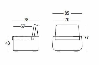 Poltrona Bold Armchair Light Plust indoor/outdoor dimensioni e misure