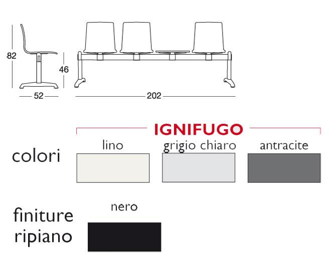 Alice feuerfeste Sitzbank 3 Sitzplätzen und Regal Scab Design Größen und Ausführungen