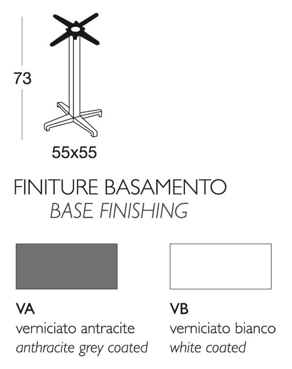 Tavolino Bar Cross Scab fisso H.75 con piano in acciaio dimensioni