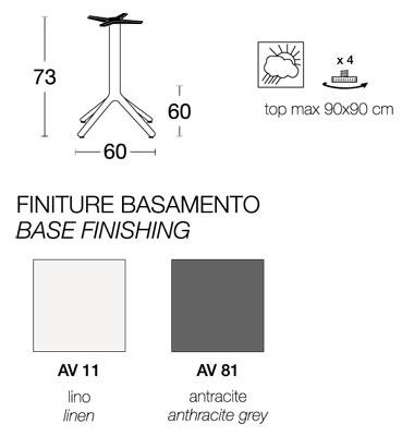 misure finiture base tavolino maxi nemo h 73