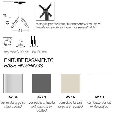 misure finiture base tavolino nemo h 75