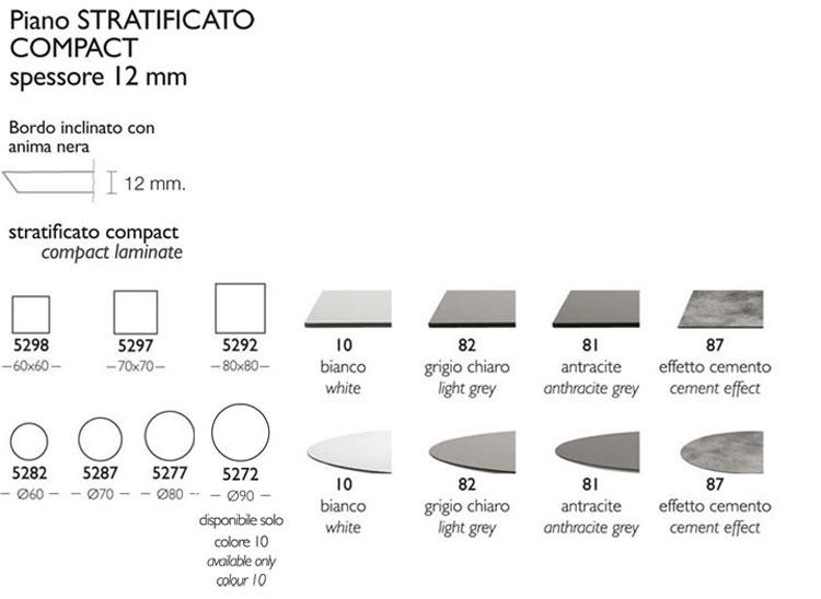 Tavolino Bar Tiffany Scab H.75 finiture piano 12 mm