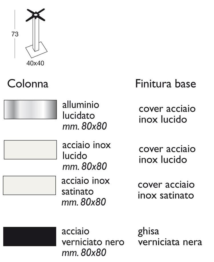 Tavolino Bar Tiffany Scab H.75 basamento e colonna quadrata con piano in acciaio misure e dimensioni