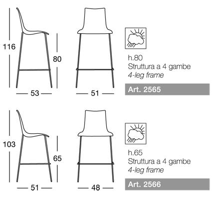 misure scab design sgabello zebra tecnopolimero