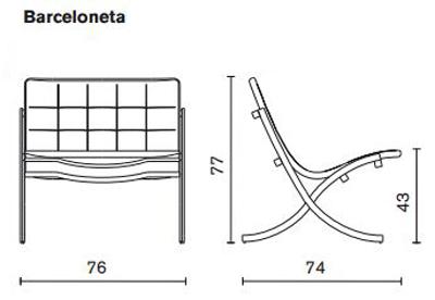 Poltrona Barceloneta Serralunga dimensioni e misure