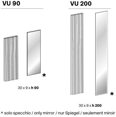 vu tonelli design specchio modulare misure