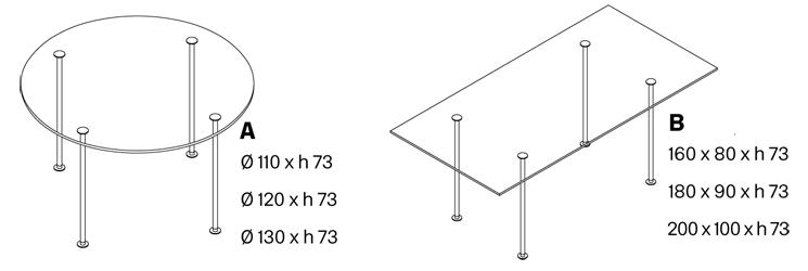 Tavolo Twiggy dimensioni