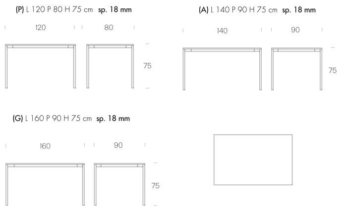 misure tavolo fisso tonin casa modello evo