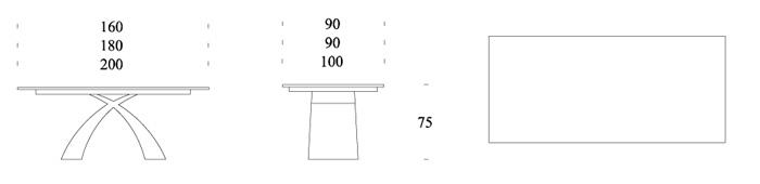 misure tavolo Tokyo Tonin Casa fisso in vetro